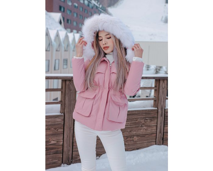 1051 Down Jacket hoodie white fur
