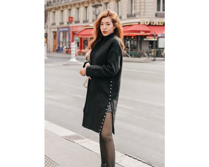 229 Long coat pearl strap