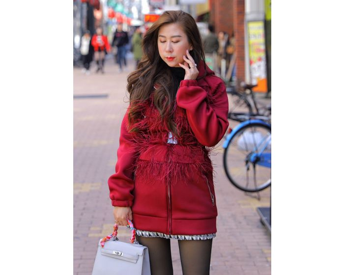 459 Feather Coat with belt
