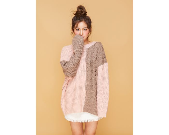 579 Pink & Grey knitting