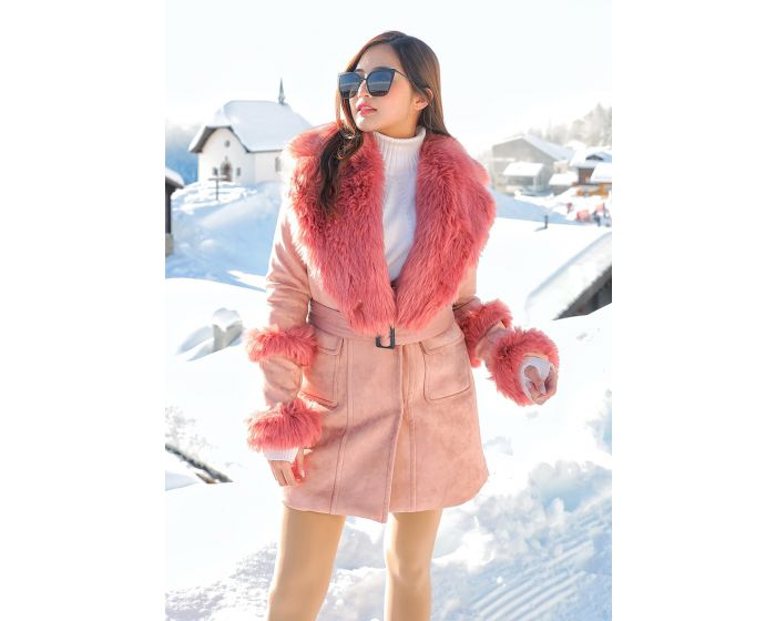 607 COAT COLLAR FUR WITH BELT