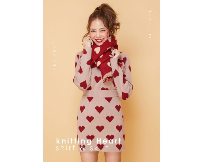 645 knitting Heart shirt & skirt