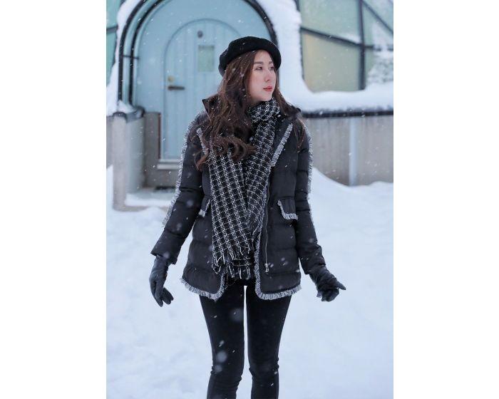 654 Black & white Down Coat