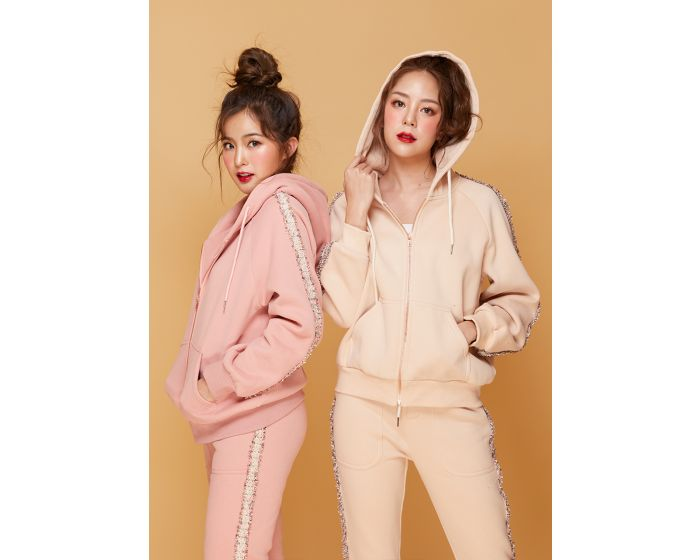 658 Sweater pink gold zip & Jogging Warm