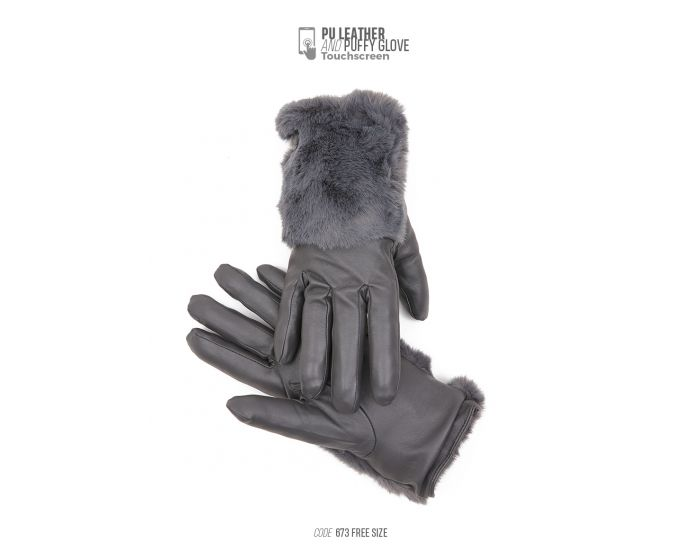 673 PU LEATHER & PUFFY GLOVE TOUCHSCREEN