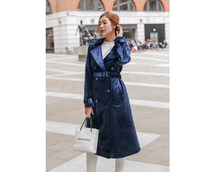 884 Velvet Trench Long Coat