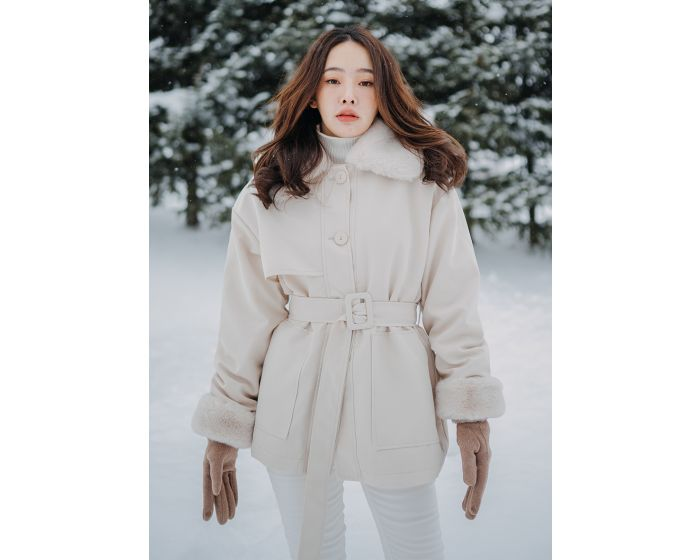 960 Coat Inner Fur With Belt